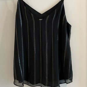 😁 Black blouse tank top with grey glitter stripes